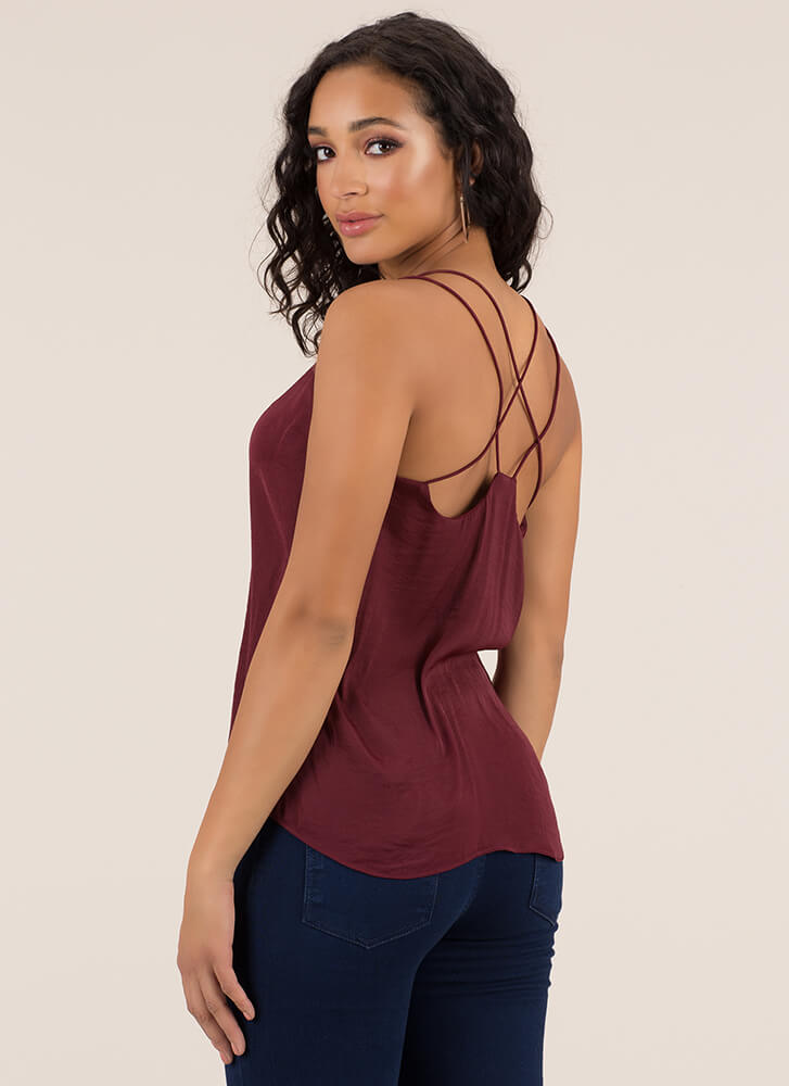 Go With The Flow Strappy Back Tank Top MAHOGANY