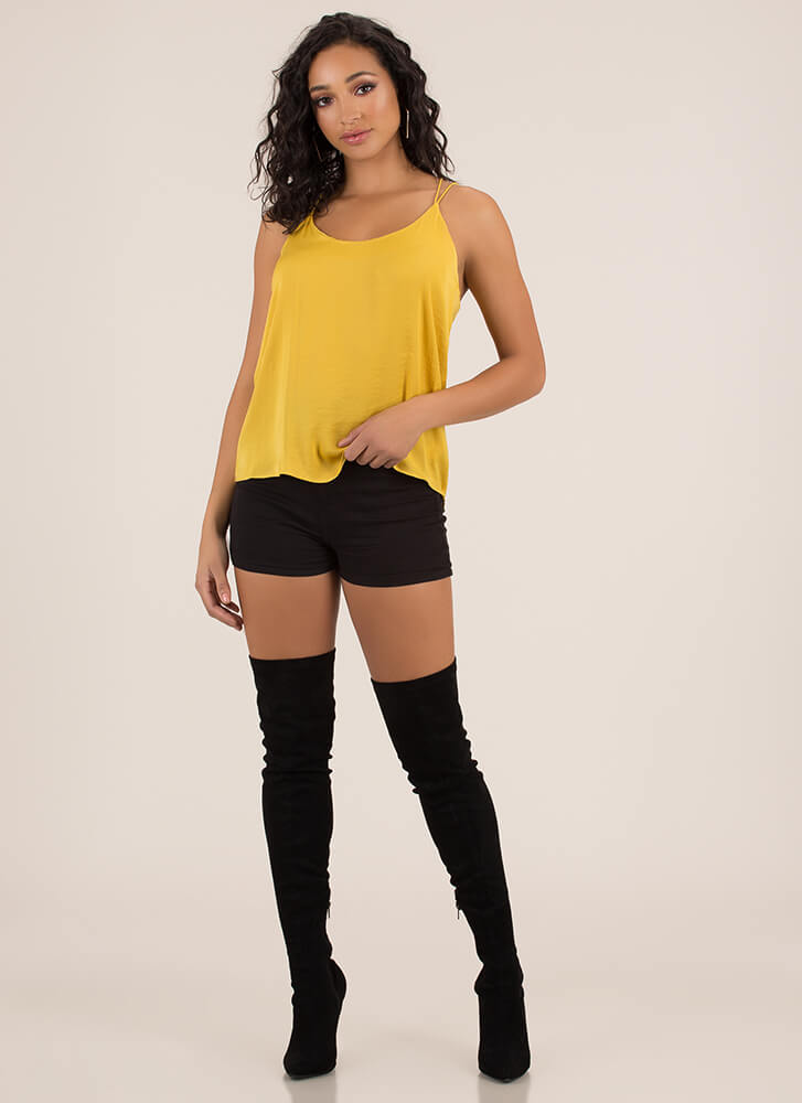 Go With The Flow Strappy Back Tank Top MUSTARD