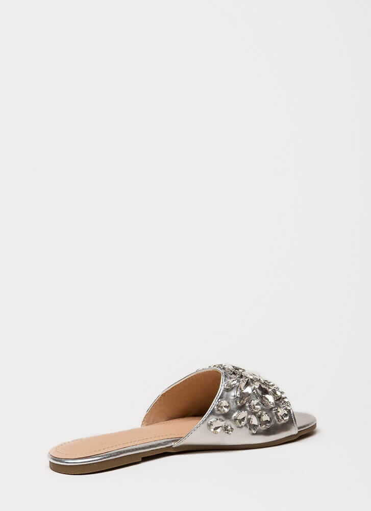 Glass Slipper Jeweled Slide Sandals SILVER (You Saved $22)