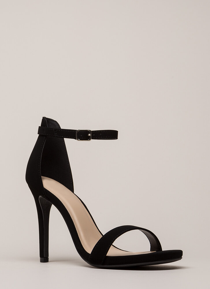 Say Yes Faux Nubuck Ankle Strap Heels BLACK