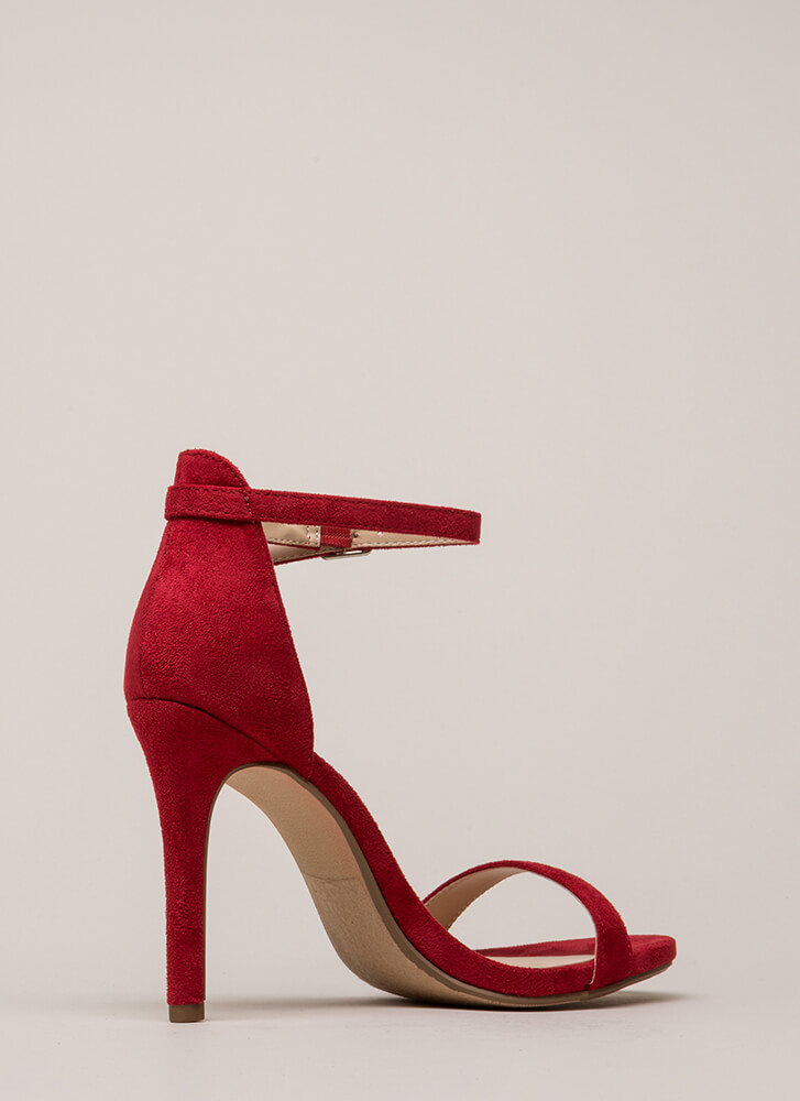 Say Yes Faux Suede Ankle Strap Heels BRIGHTRED (Final Sale)