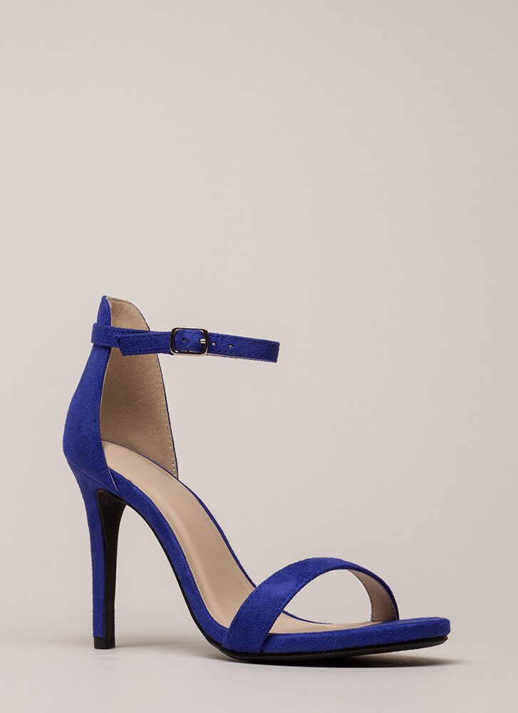 Say Yes Faux Suede Ankle Strap Heels ELECTRICBLUE
