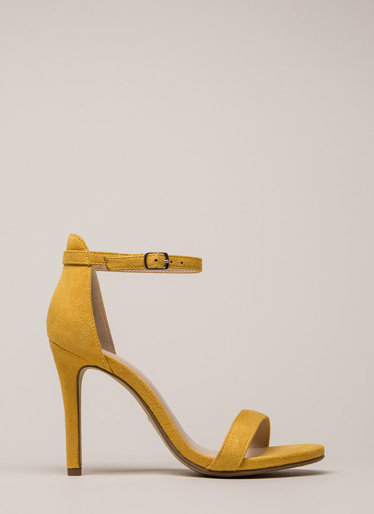 Say Yes Faux Suede Ankle Strap Heels MUSTARD