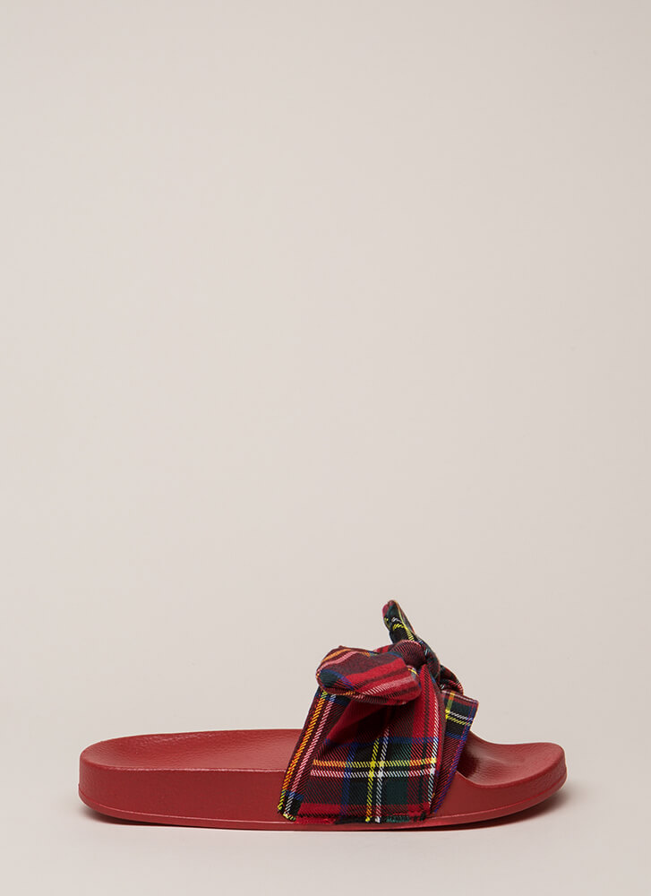 Girls Gone Plaid Tied Bow Slide Sandals RED