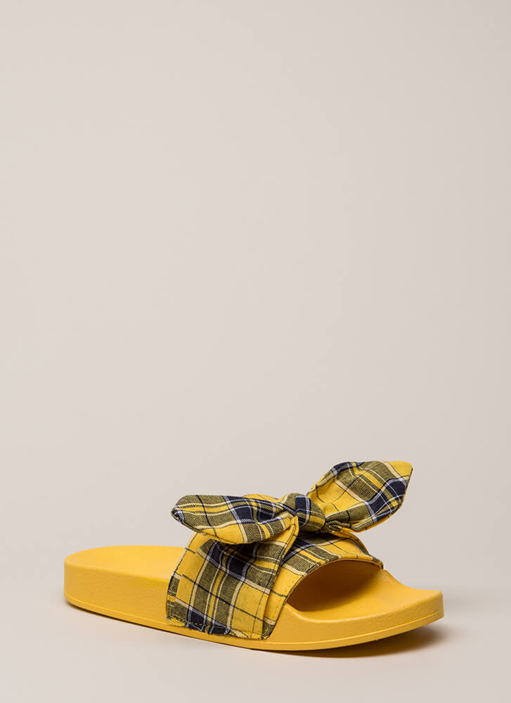 Girls Gone Plaid Tied Bow Slide Sandals YELLOW