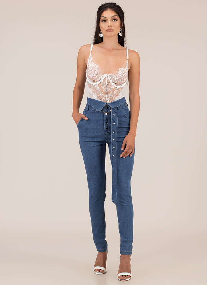 Fold Up Belted High-Waisted Skinny Jeans DKBLUE