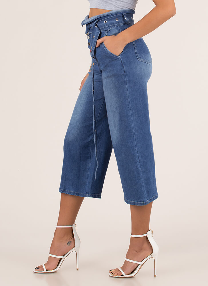 Fold Up Belted Cropped Wide-Leg Jeans BLUE