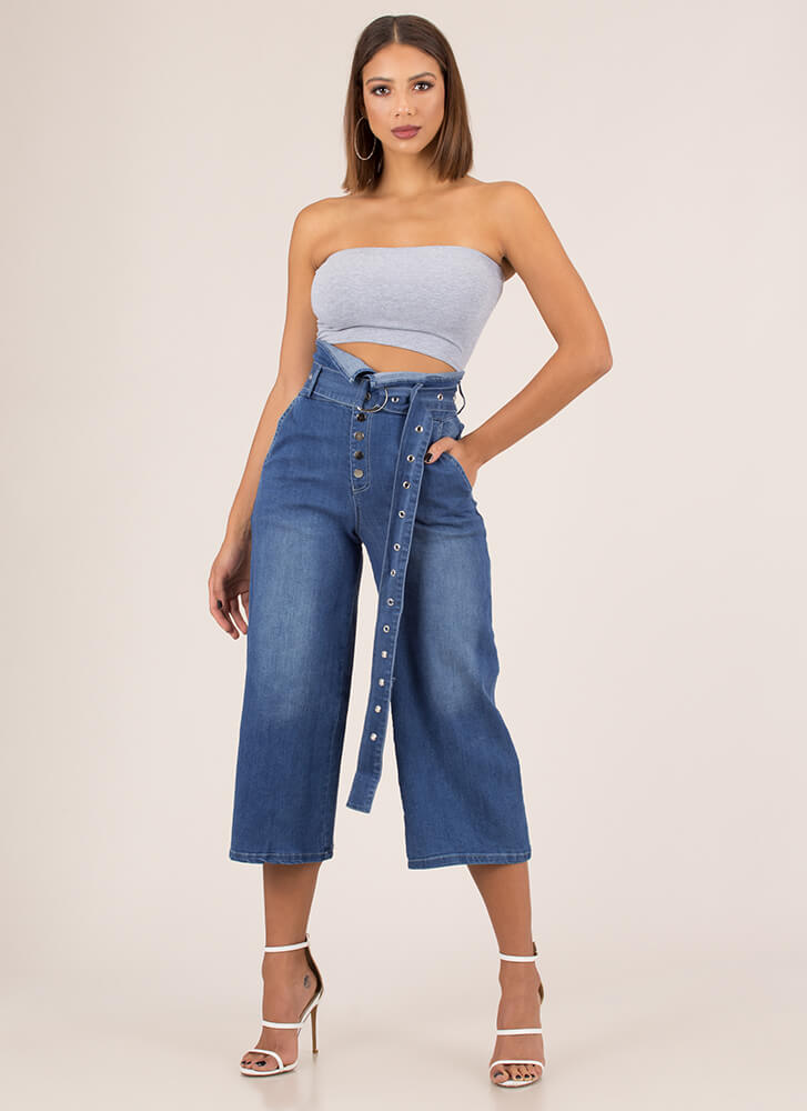Fold Up Belted Cropped Wide-Leg Jeans BLUE (Final Sale)