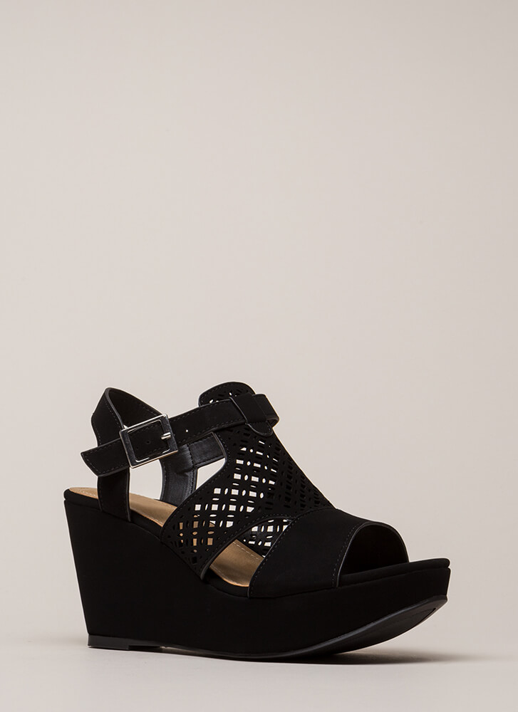 Walks Of Life Cut-Out Platform Wedges BLACK