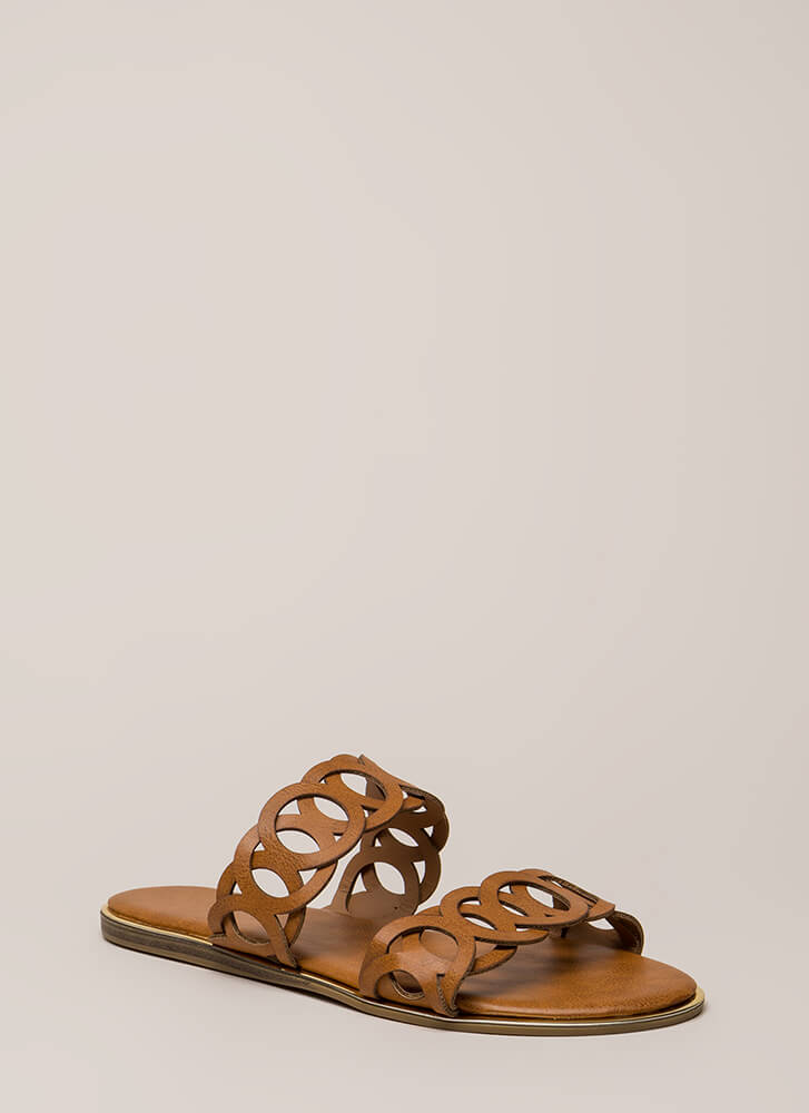 Ring Off The Hook Cut-Out Slide Sandals TAN