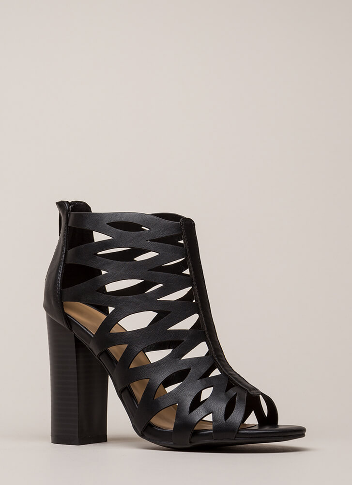 Hit The Curve Cut-Out Caged Heels BLACK
