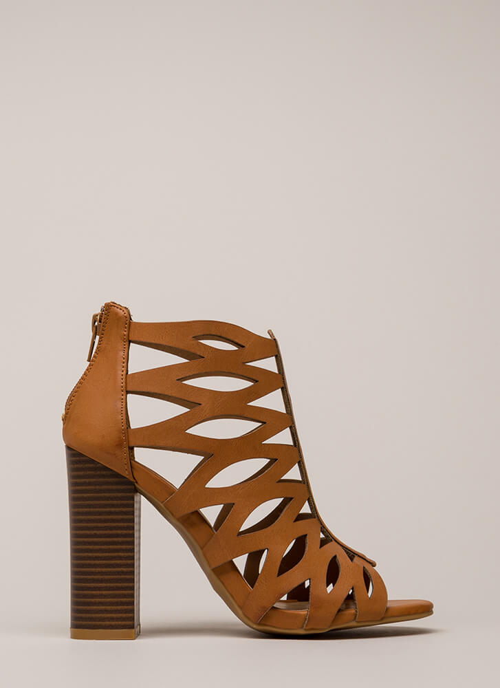 Hit The Curve Cut-Out Caged Heels TAN