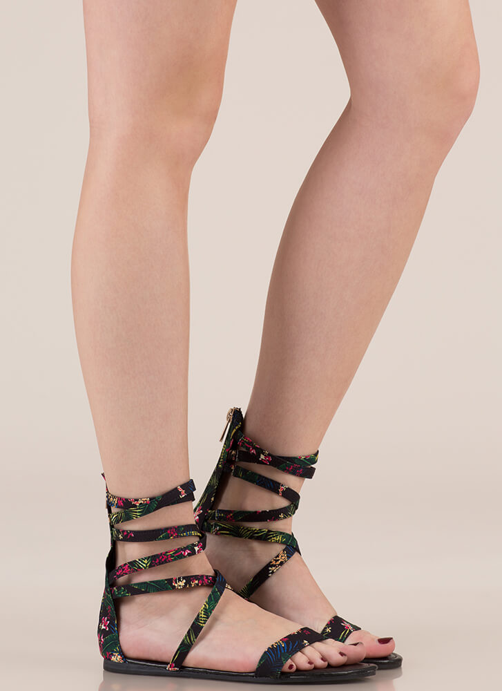 Tropical Vacation Strappy Sandals BLACK
