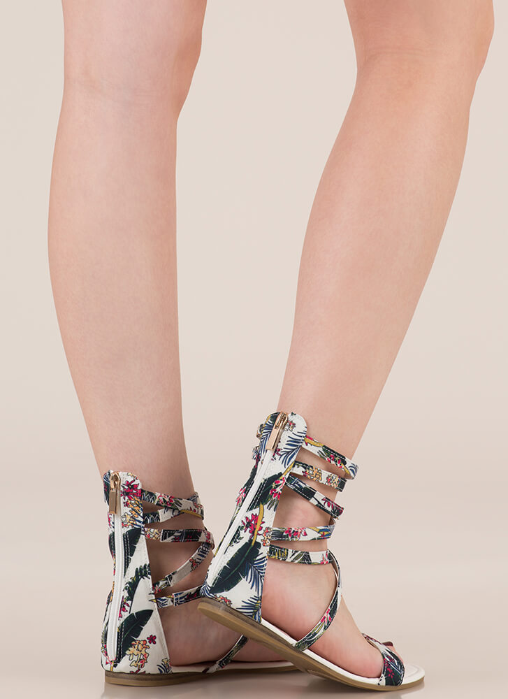 Tropical Vacation Strappy Sandals WHITE