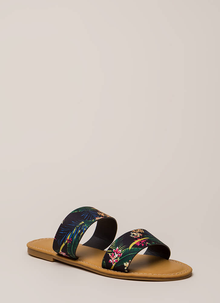 On Vacation Floral Slide Sandals BLACK (You Saved $10)