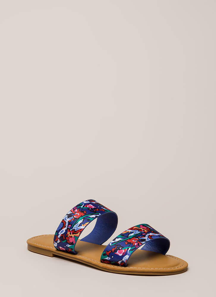 On Vacation Floral Slide Sandals BLUE (You Saved $10)