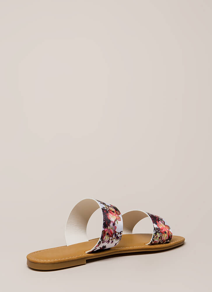 On Vacation Floral Slide Sandals WHITE (You Saved $10)
