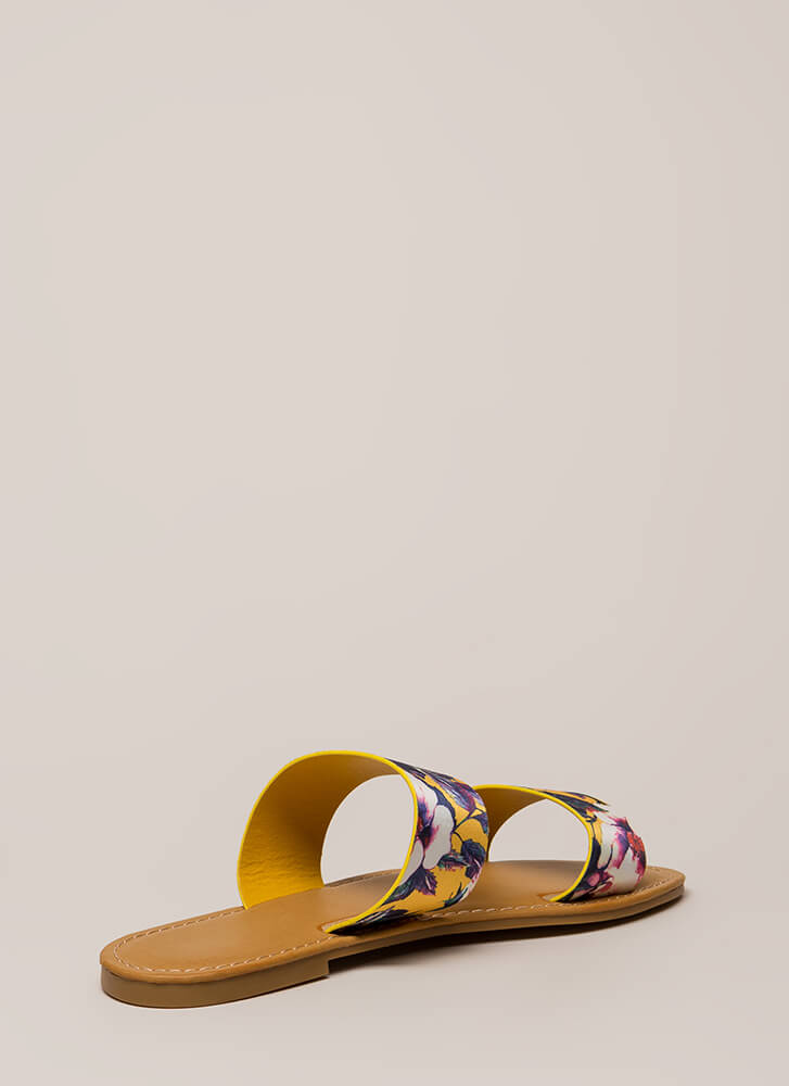 On Vacation Floral Slide Sandals YELLOW (You Saved $10)
