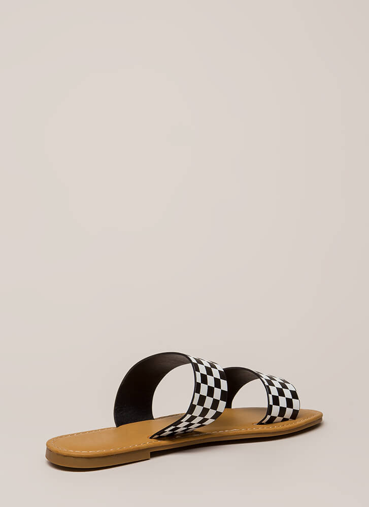 Let's Race Checkered Slide Sandals BLACKWHITE
