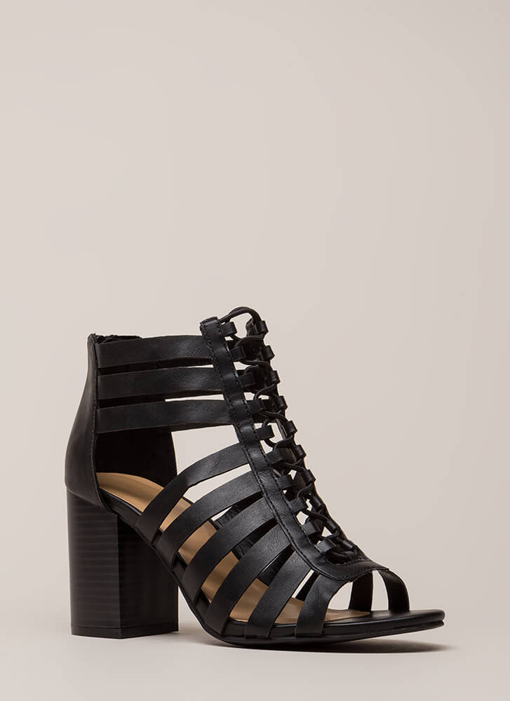 Strap Me Silly Chunky Cut-Out Heels BLACK