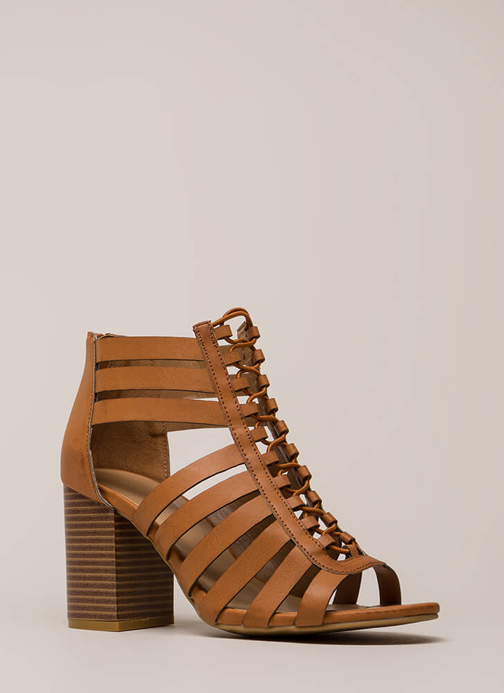 Strap Me Silly Chunky Cut-Out Heels TAN