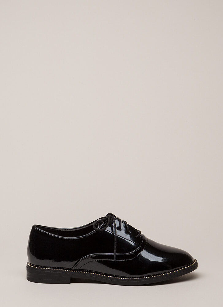 Full Potential Studded Lace-Up Oxfords BLACK