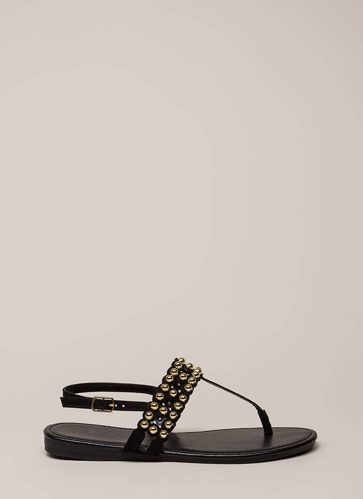 Bead Of My Heart Studded T-Strap Sandals BLACK