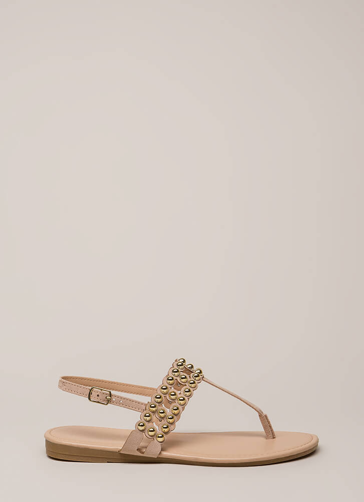 Bead Of My Heart Studded T-Strap Sandals NUDE