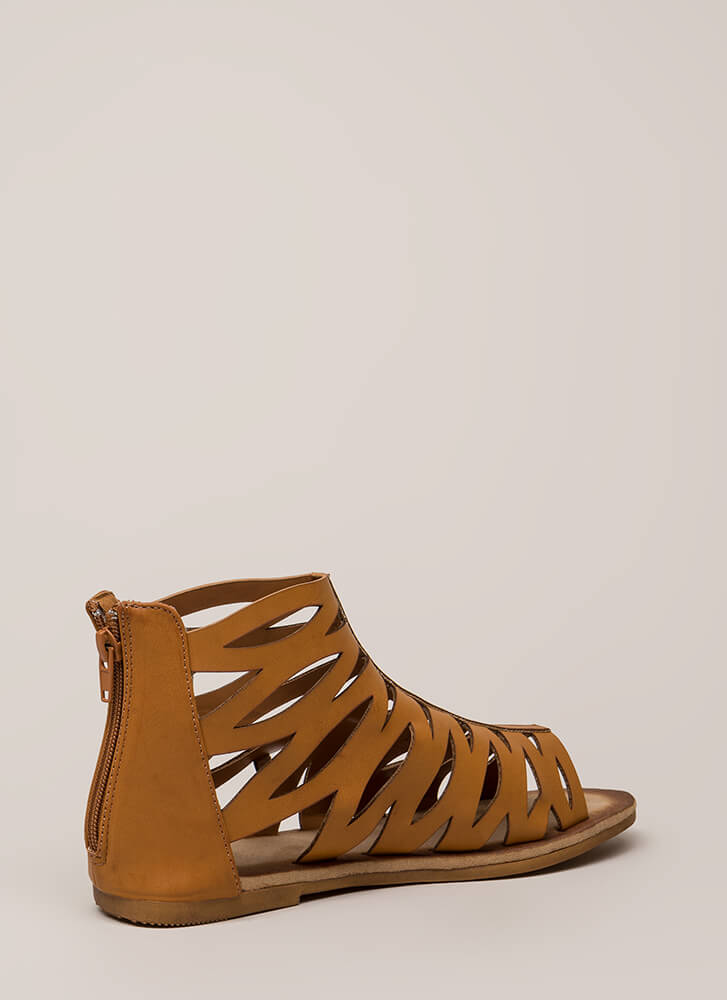 Woman Warrior Cut-Out Gladiator Sandals TAN