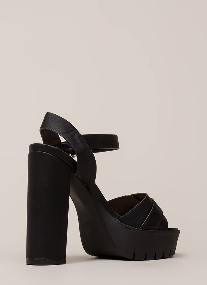 Heavy Duty Chunky Buckled Platforms BLACK