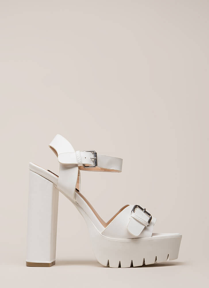 Heavy Duty Chunky Buckled Platforms WHITE