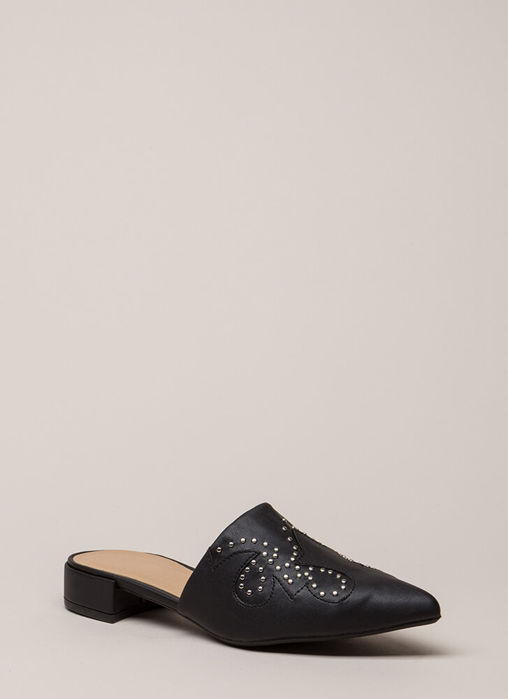 My Strong Point Studded Mule Flats BLACK