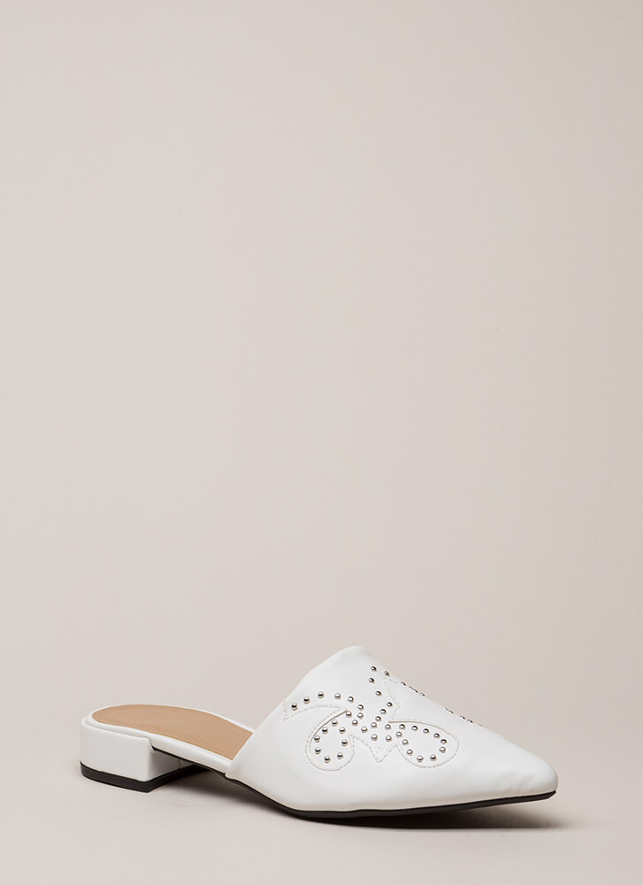 My Strong Point Studded Mule Flats WHITE