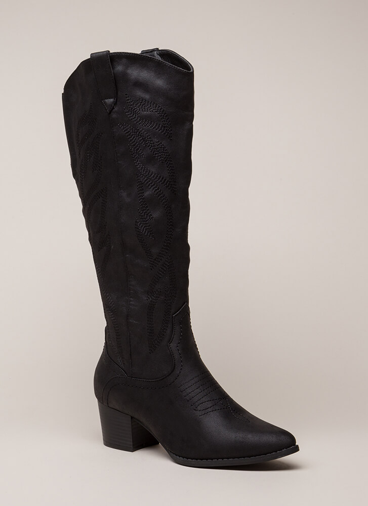 New Flame Embroidered Cowgirl Boots BLACK (You Saved $35)