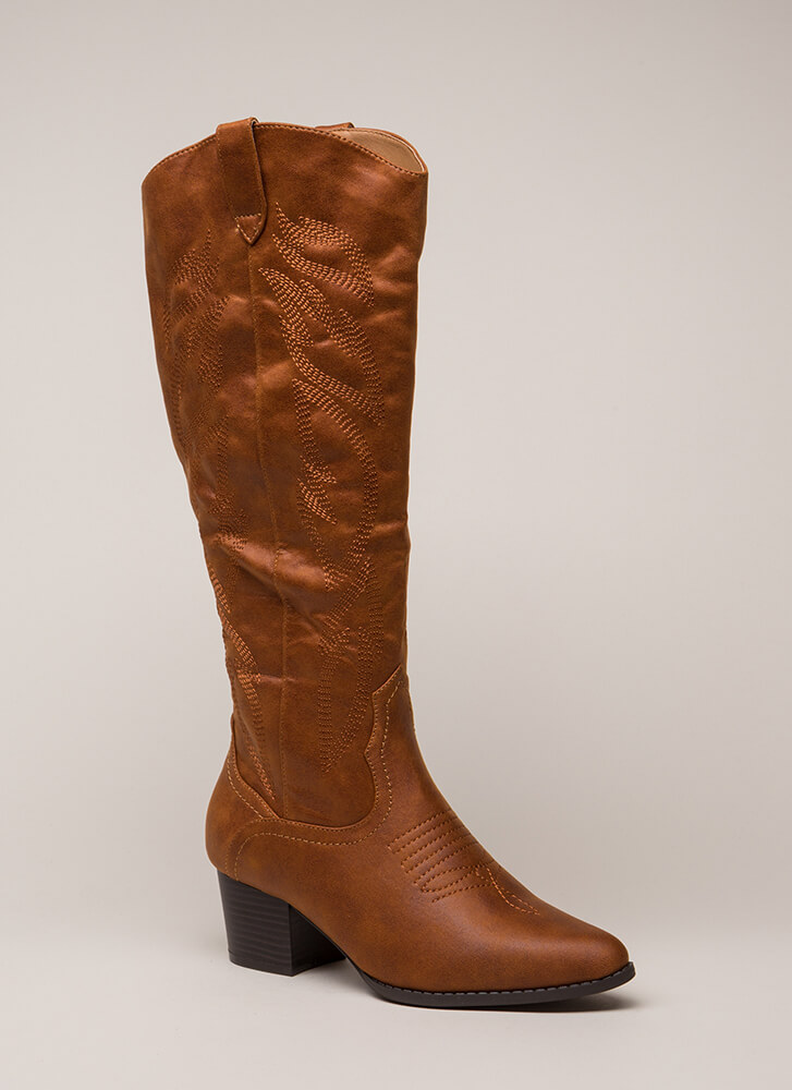 New Flame Embroidered Cowgirl Boots COGNAC (You Saved $35)