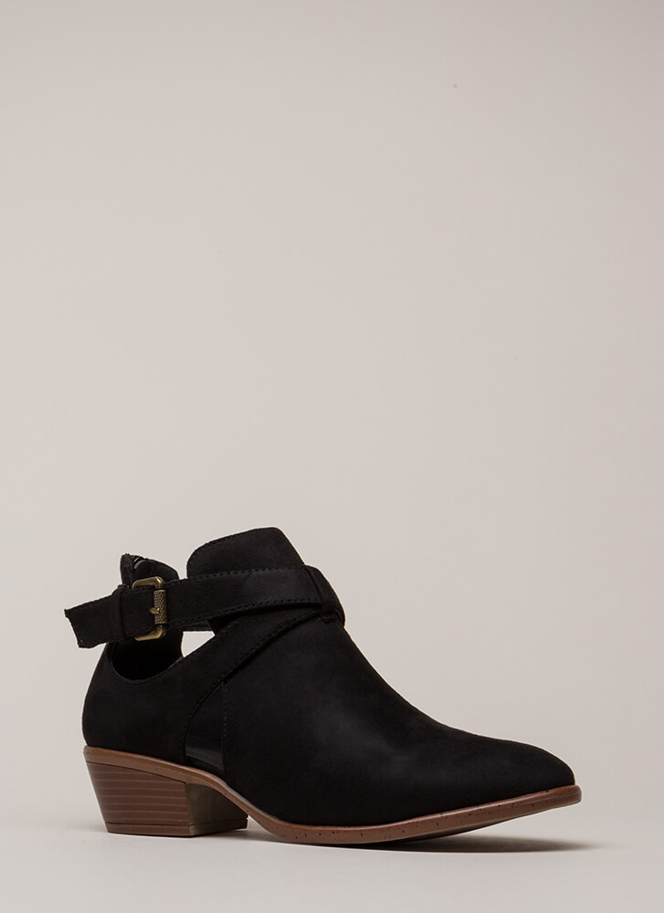 Wrap Song Strappy Cut-Out Booties BLACK