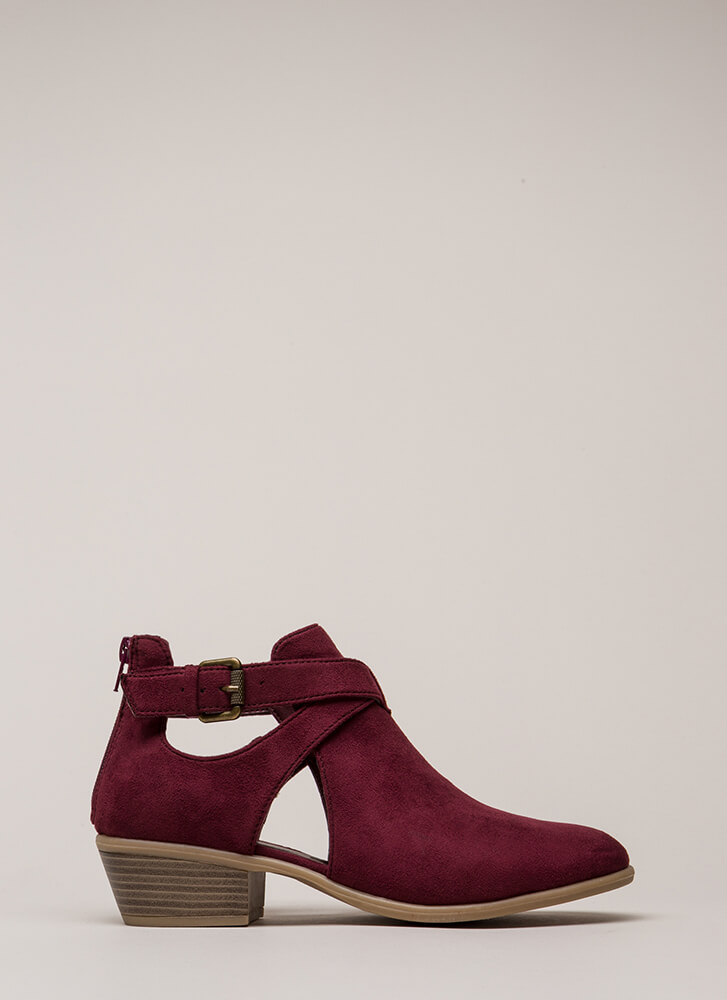 Wrap Song Strappy Cut-Out Booties BURGUNDY