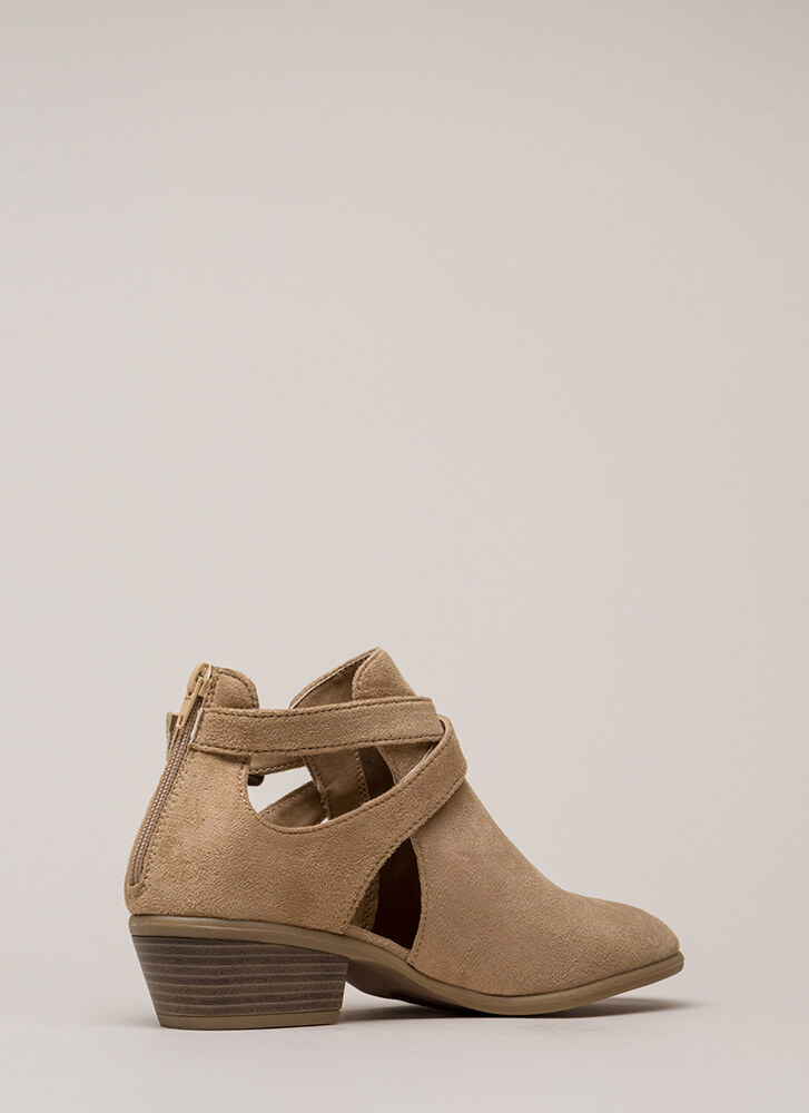 Wrap Song Strappy Cut-Out Booties TAUPE
