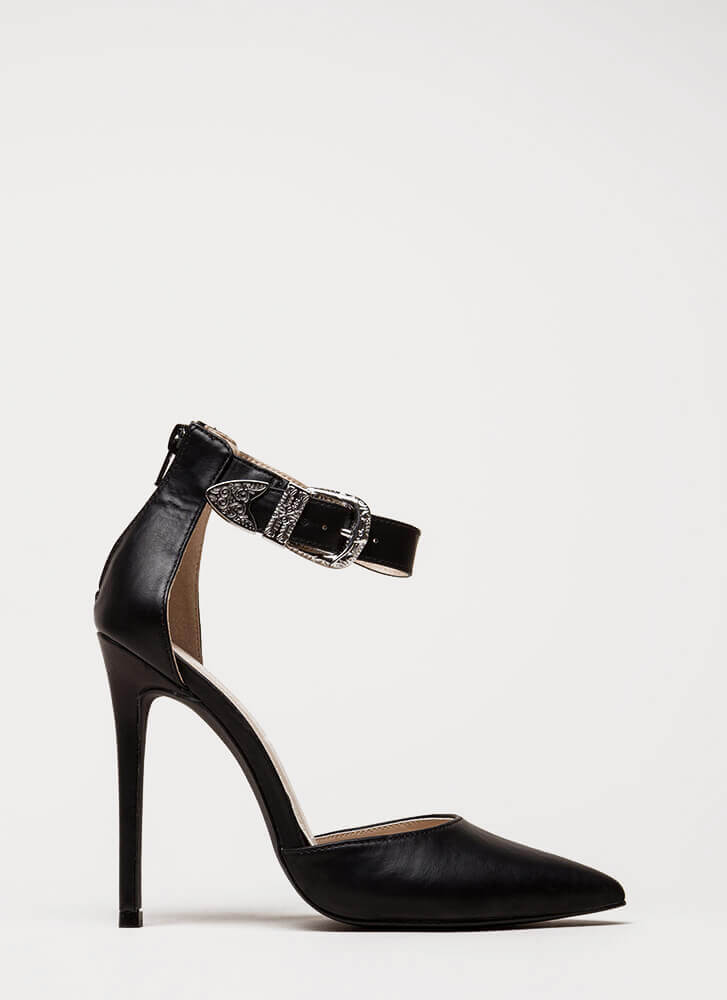 Western Coast Pointy Ankle Strap Heels BLACK (Final Sale)