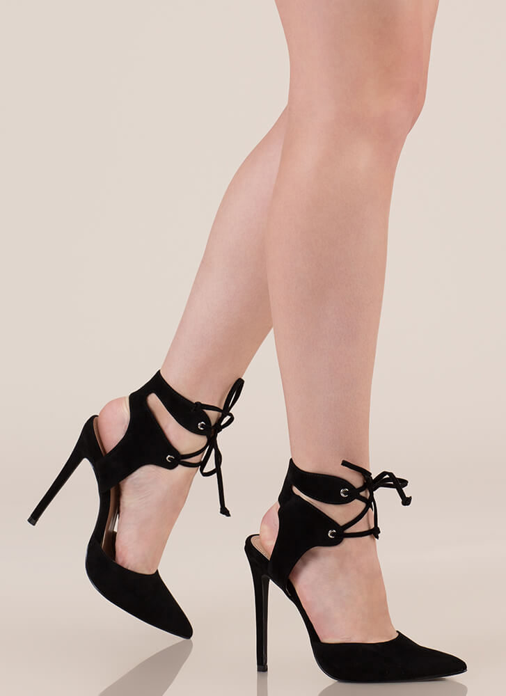 Get Gorgeous Pointy Lace-Up Heels BLACK