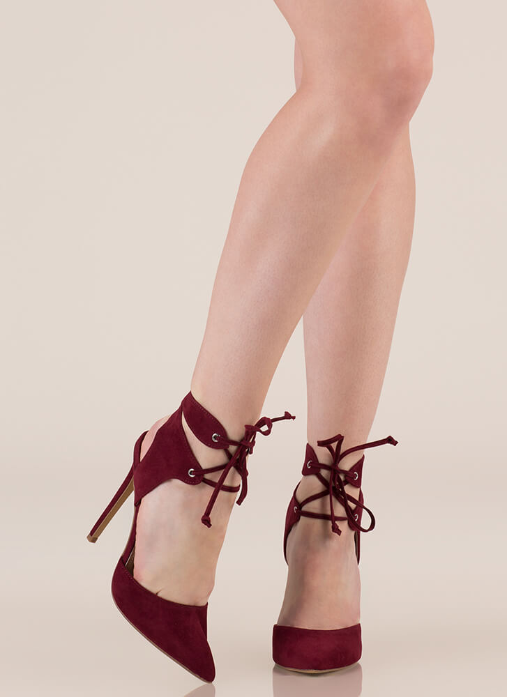 Get Gorgeous Pointy Lace-Up Heels BURGUNDY