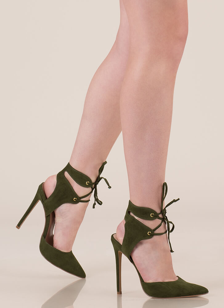 Get Gorgeous Pointy Lace-Up Heels OLIVE