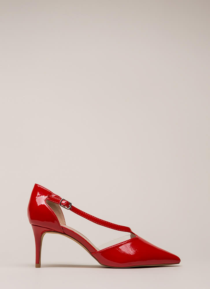 Get Your Point Across Illusion Heels RED