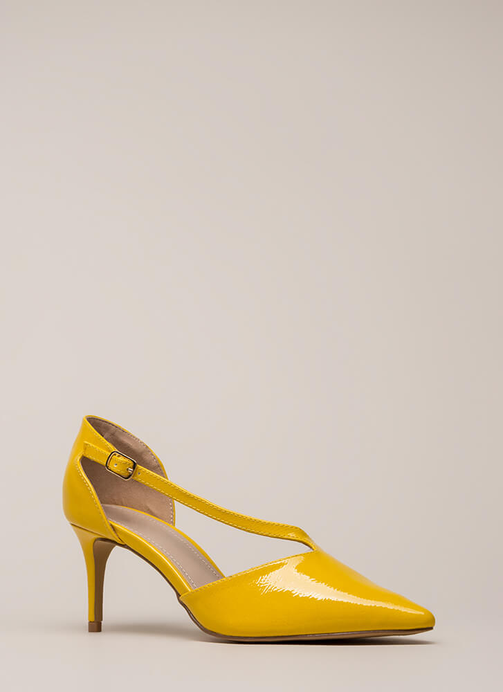 Get Your Point Across Illusion Heels YELLOW