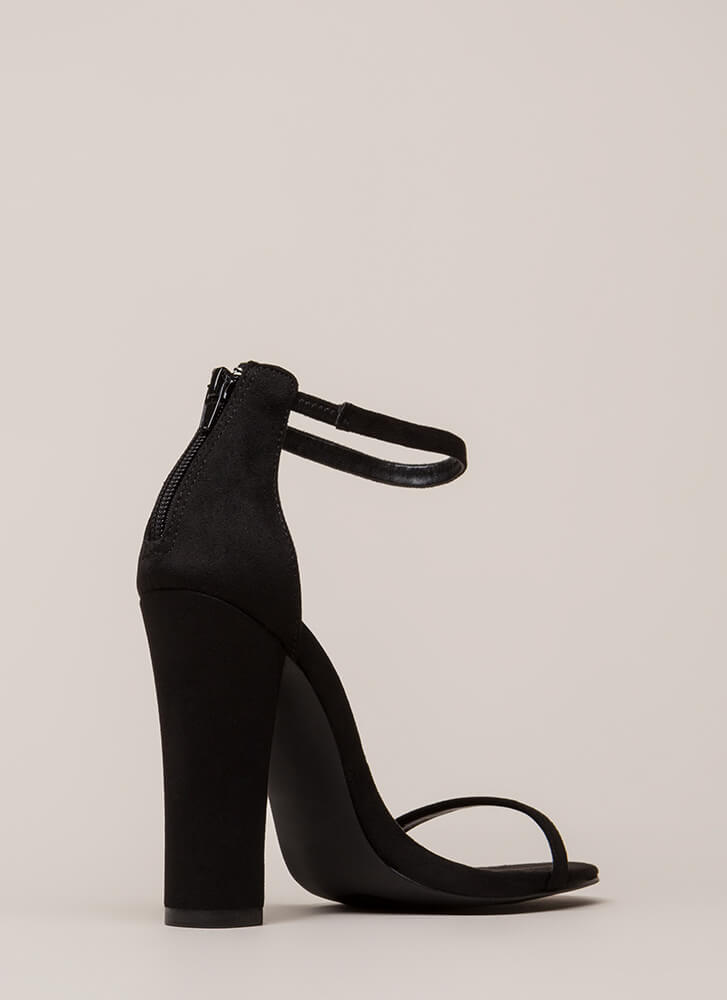 Skinny Dipping Chunky Ankle Strap Heels BLACK
