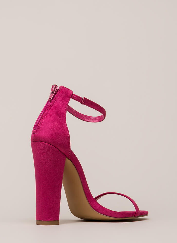 Skinny Dipping Chunky Ankle Strap Heels FUCHSIA