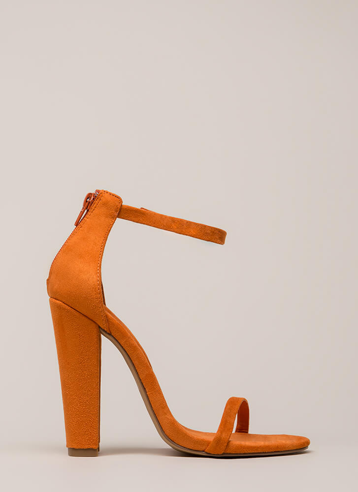 Skinny Dipping Chunky Ankle Strap Heels ORANGE