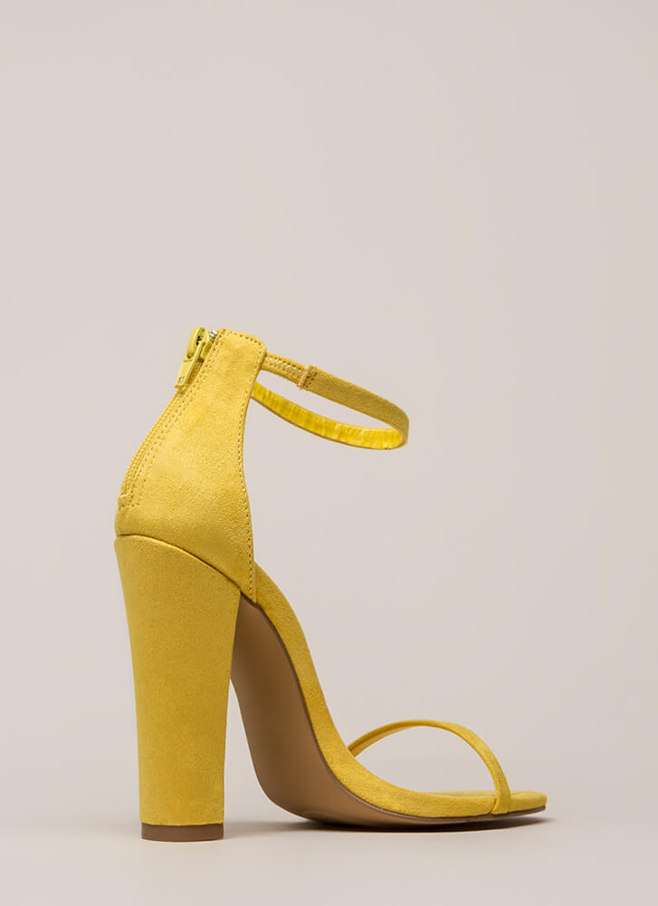 Skinny Dipping Chunky Ankle Strap Heels YELLOW