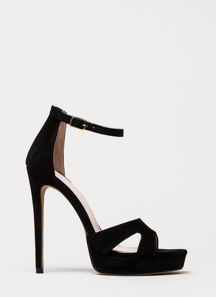 Heel My Sole Ankle Strap Platforms BLACK