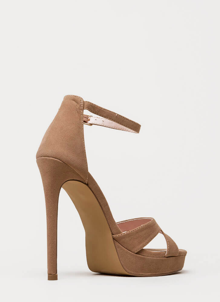 Heel My Sole Ankle Strap Platforms TAUPE